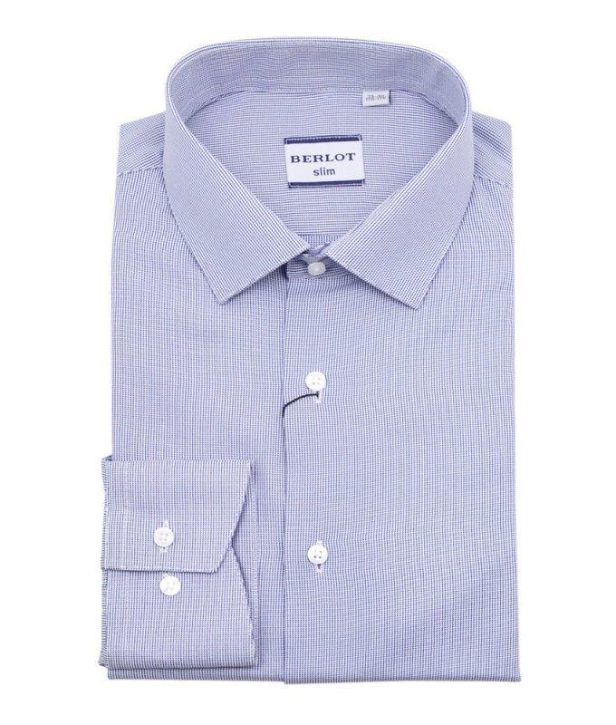 Рубашка Berlot синяя, мелкий орнамент, приталенный силуэт, длинный рукав