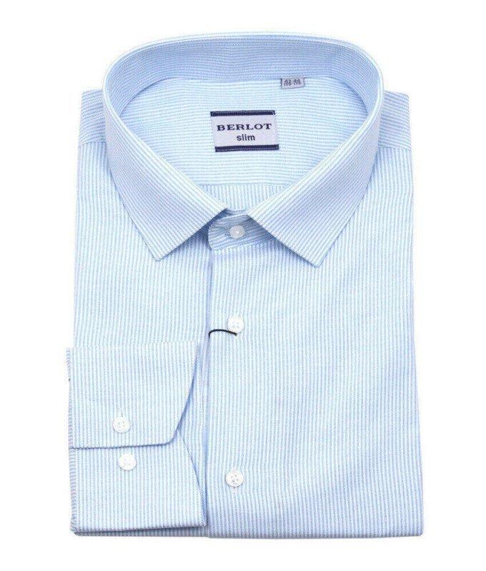 Рубашка Berlot голубая, в полоску, приталенный силуэт