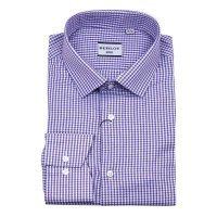 Рубашка Berlot фиолетовая, в клетку, приталенный силуэт
