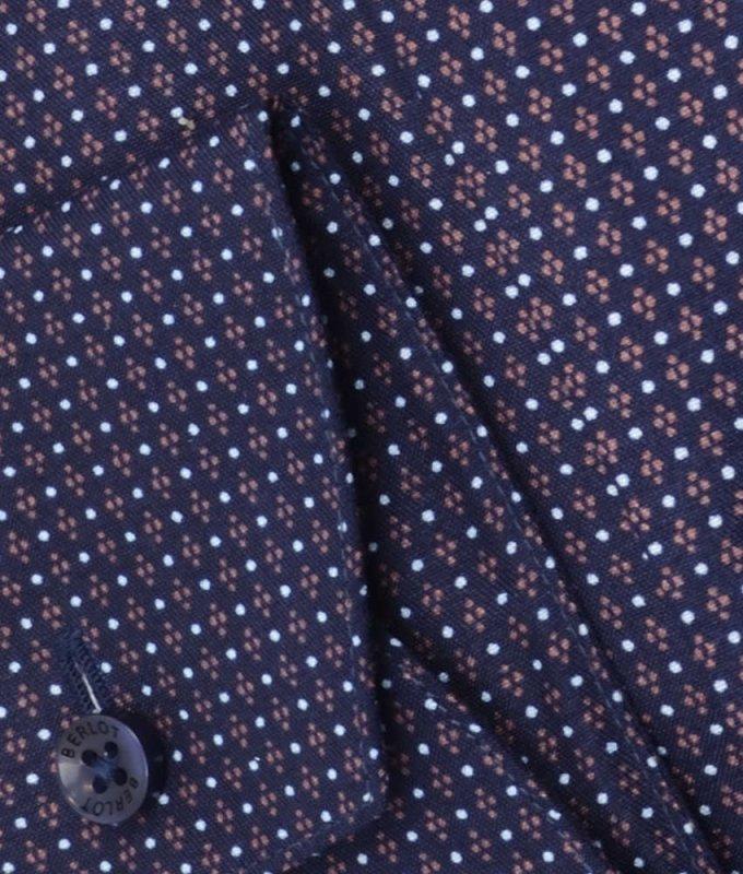 Рубашка Berlot темно-синяя, мелкий орнамент, приталенный силуэт