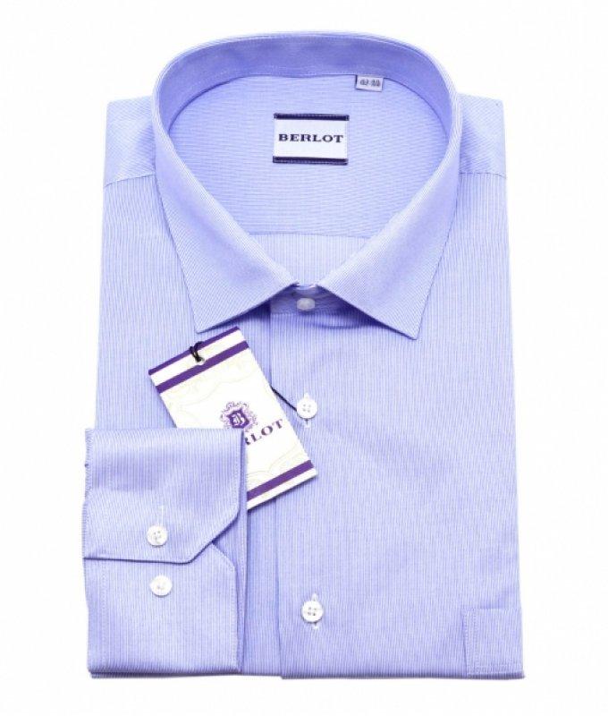 Рубашка Berlot голубая, в полоску, приталенный силуэт, длинный рукав