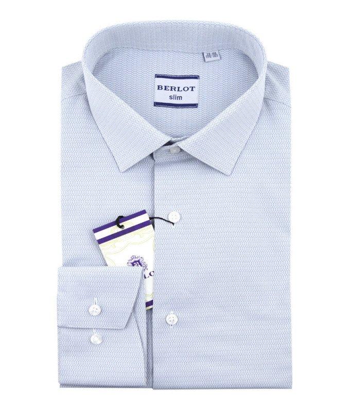 Рубашка Berlot серая, мелкий орнамент, приталенный силуэт, длинный рукав