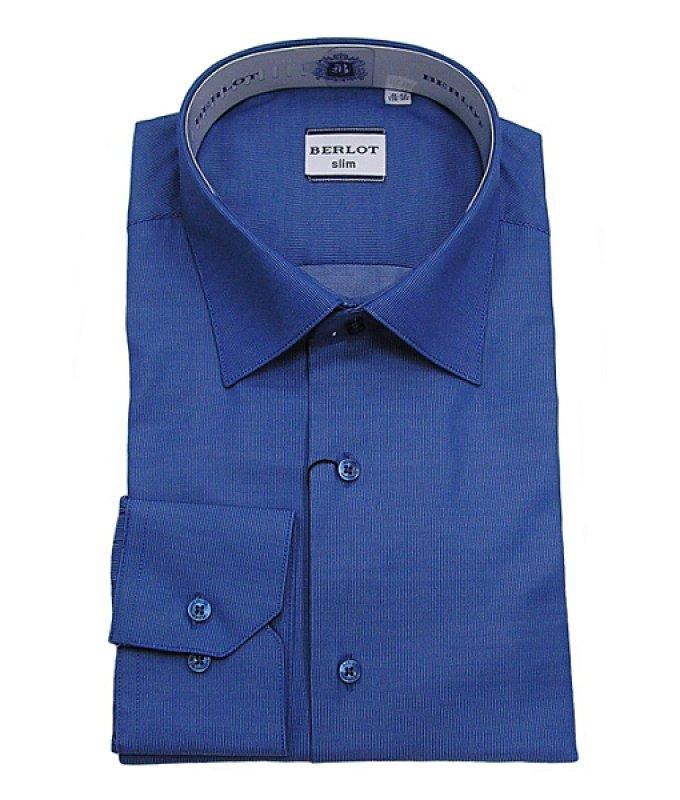 Рубашка Berlot синяя, однотонная, приталенный силуэт