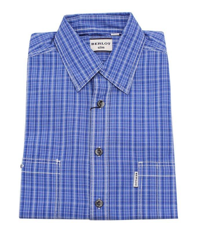 Рубашка Berlot синяя, в клетку, приталенный силуэт
