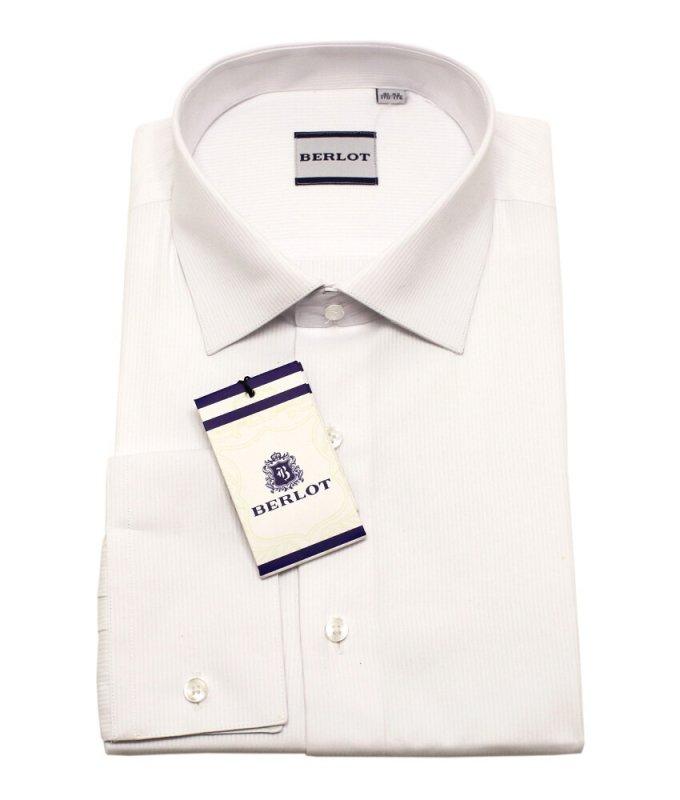 Рубашка Berlot белая, в полоску, классический силуэт