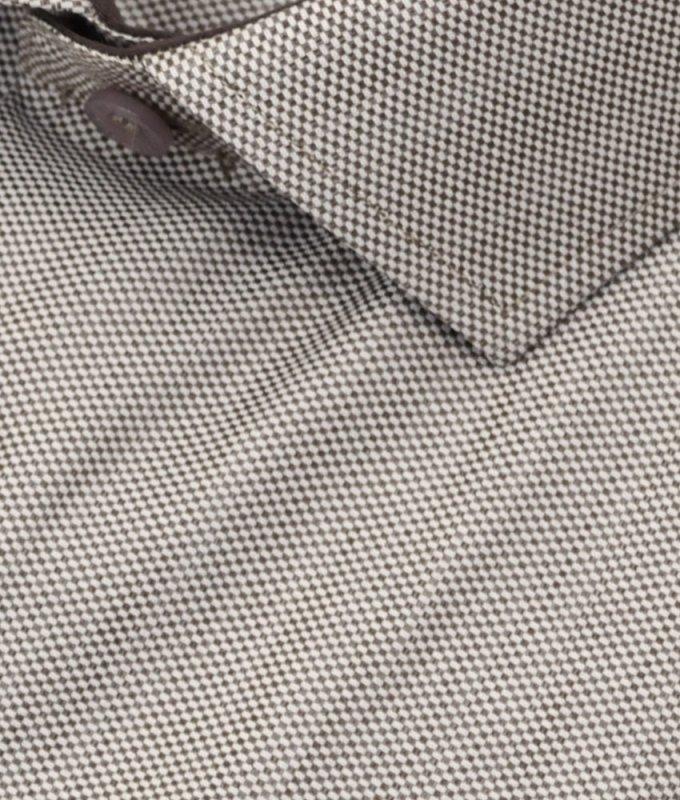 Рубашка Berthier коричневая, мелкий орнамент, классический силуэт
