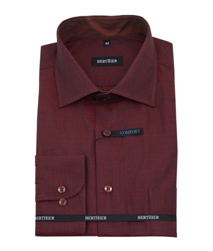 Рубашка Berthier коричневая, в полоску, классический силуэт