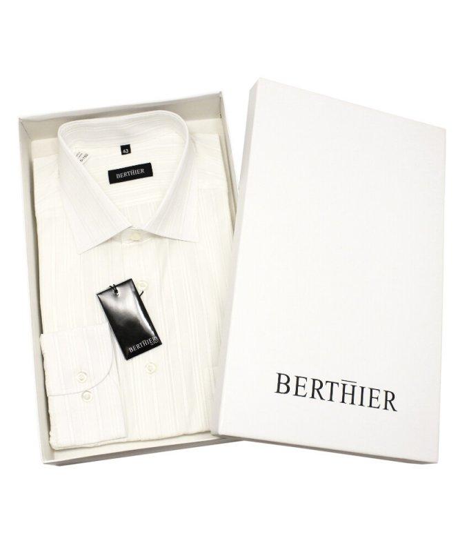 Рубашка Berthier белая, в полоску, классический силуэт