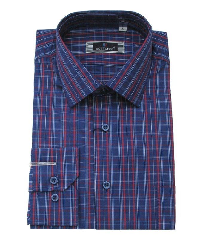Рубашка Bottoner синяя, в клетку, полуприталенный силуэт