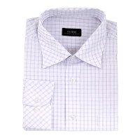 Рубашка Casino белая, в клетку, приталенный силуэт, длинный рукав