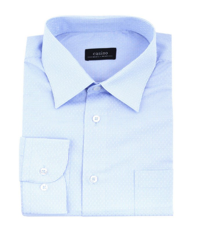 Рубашка Casino голубая, в клетку, приталенный силуэт, длинный рукав