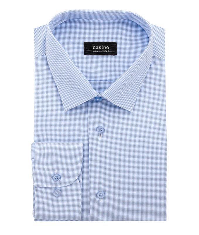 Рубашка Casino голубая, в клетку, приталенный силуэт