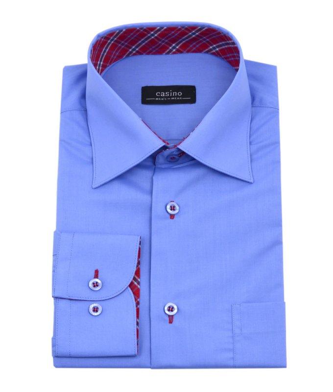 Рубашка Casino синяя, однотонная, приталенный силуэт