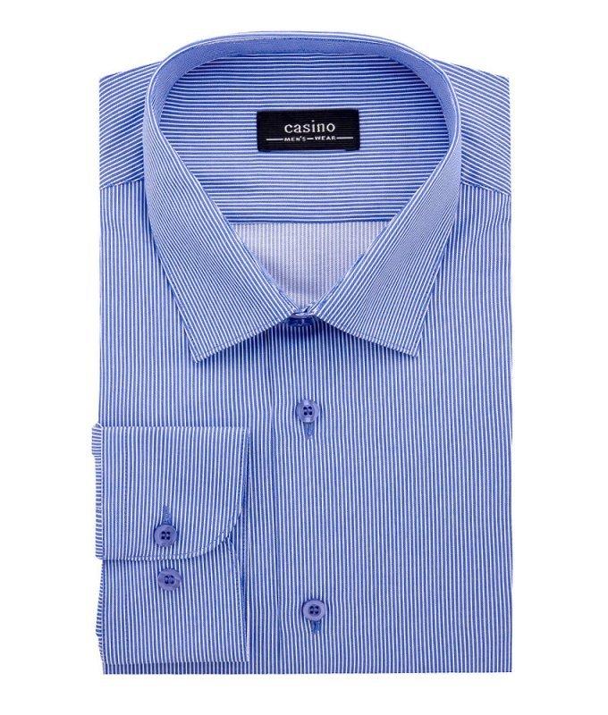 Рубашка Casino синяя, в полоску, классический силуэт