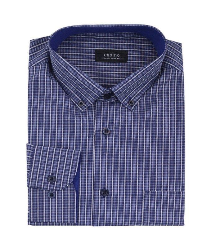 Рубашка Casino синяя, в клетку, приталенный силуэт, длинный рукав