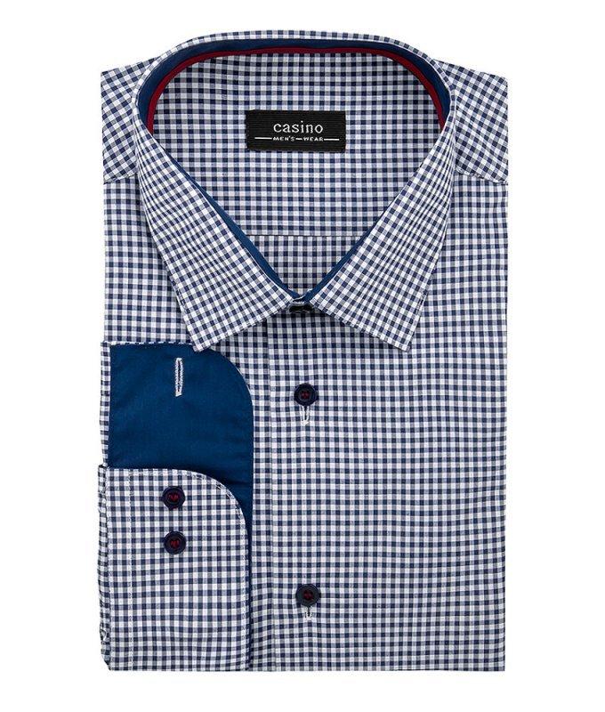 Рубашка Casino синяя, в клетку, приталенный силуэт