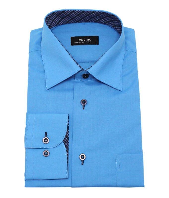 Рубашка Casino голубая, однотонная, приталенный силуэт
