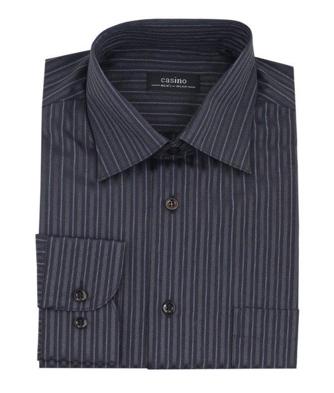 Рубашка Casino черная, в полоску, приталенный силуэт, длинный рукав