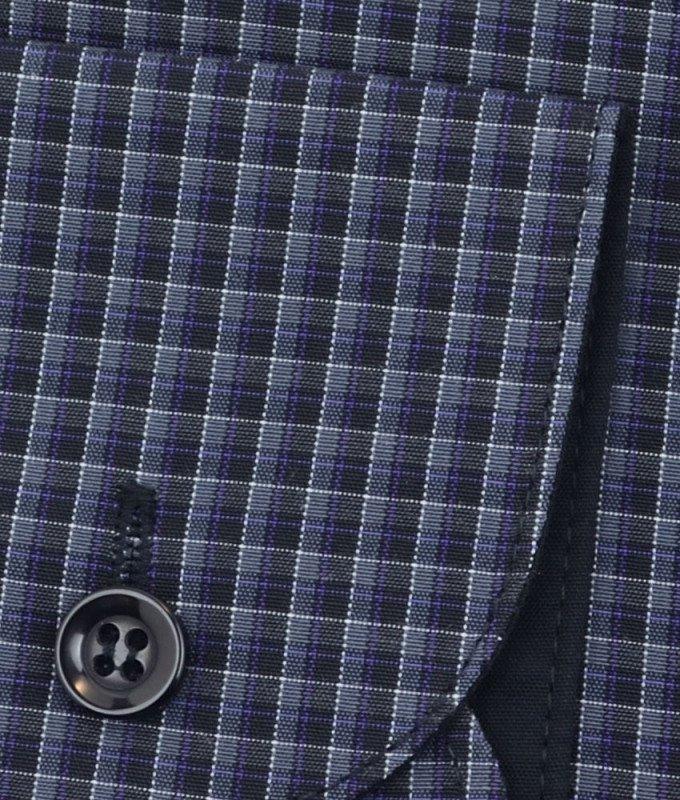 Рубашка Casino черная, в клетку, приталенный силуэт, длинный рукав