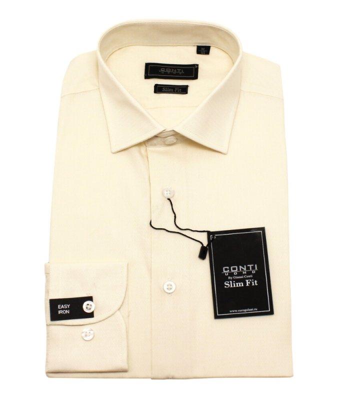 Рубашка Conti uomo бежевая/молочная, однотонная, приталенный силуэт