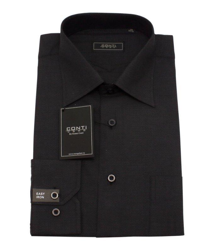 Рубашка Conti uomo черная, однотонная, классический силуэт