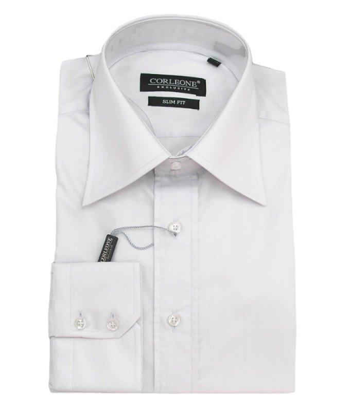 Рубашка Corleone белая, однотонная, приталенный силуэт
