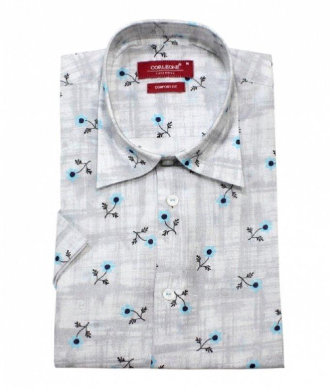 Рубашка Corleone серая, с узором, классический силуэт