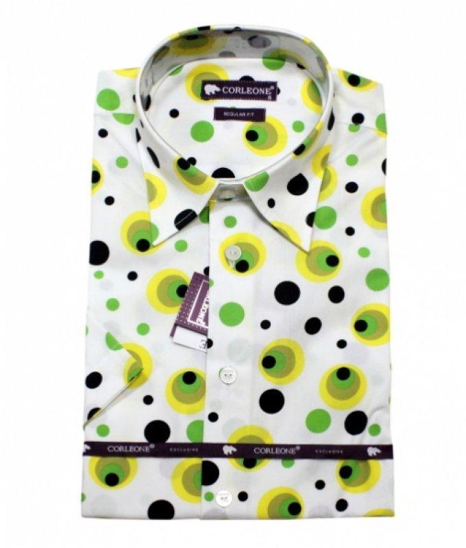 Рубашка Corleone желтая, с узором, полуприталенный силуэт