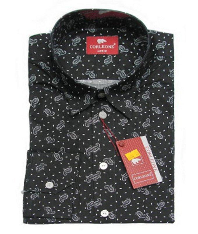 Рубашка Corleone черная, с узором, полуприталенный силуэт