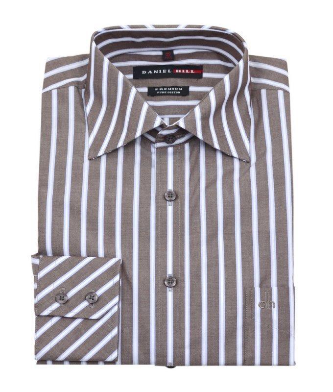 Рубашка Daniel Hill коричневая, в полоску, полуприталенный силуэт