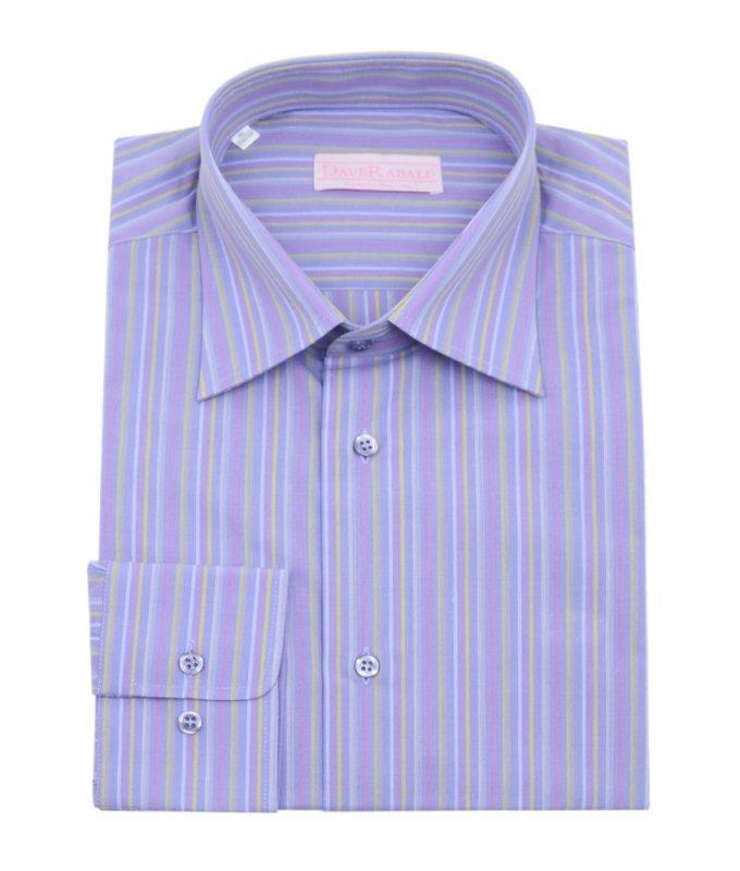 Рубашка Dave Raball сиреневая, в полоску, классический силуэт