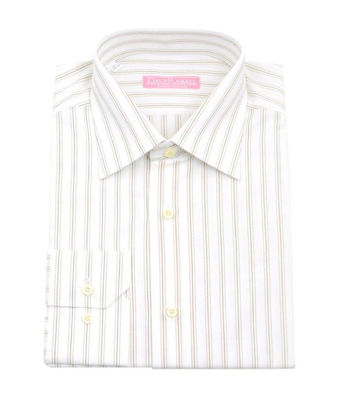 Рубашка Dave Raball белая, в полоску, классический силуэт