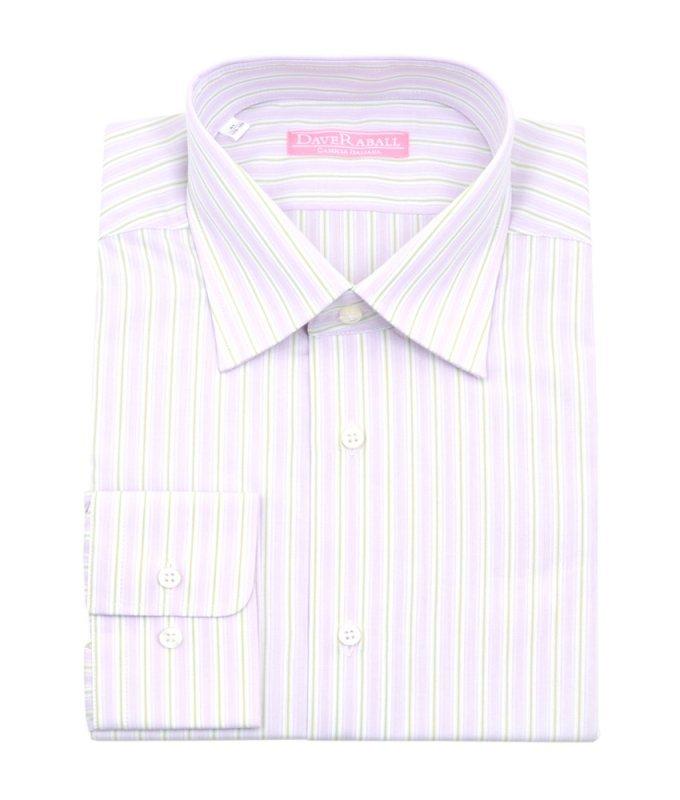 Рубашка Dave Raball розовая, в полоску, классический силуэт