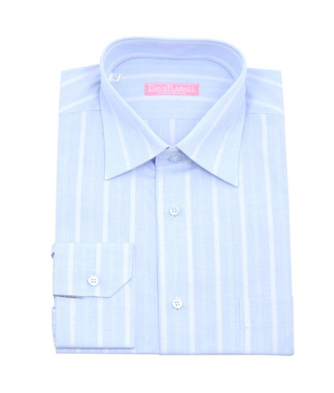 Рубашка Dave Raball голубая, в полоску, классический силуэт