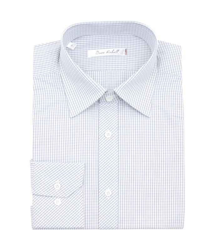 Рубашка Dave Raball серая, в полоску, классический силуэт
