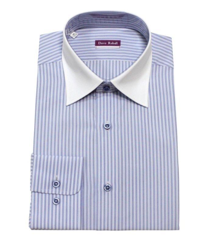 Рубашка Dave Raball голубая, в полоску, с белым воротником, классический силуэт