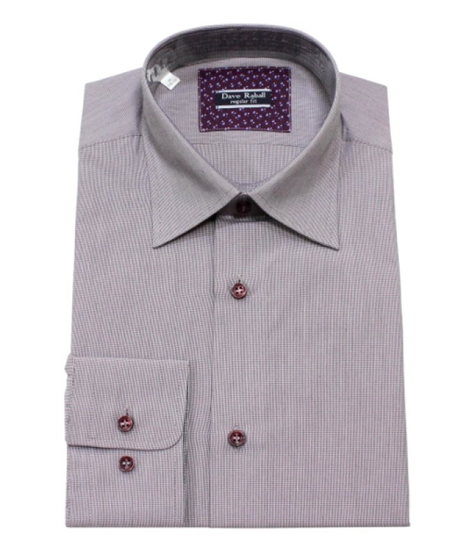 Рубашка Dave Raball розовая, мелкий орнамент, полуприталенный силуэт