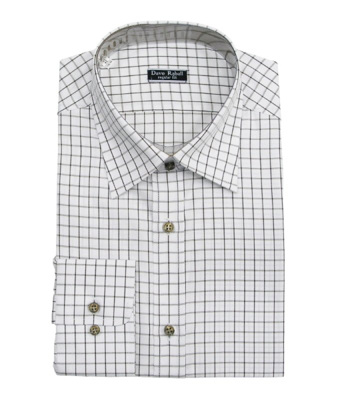 Рубашка Dave Raball белая, в клетку, полуприталенный силуэт