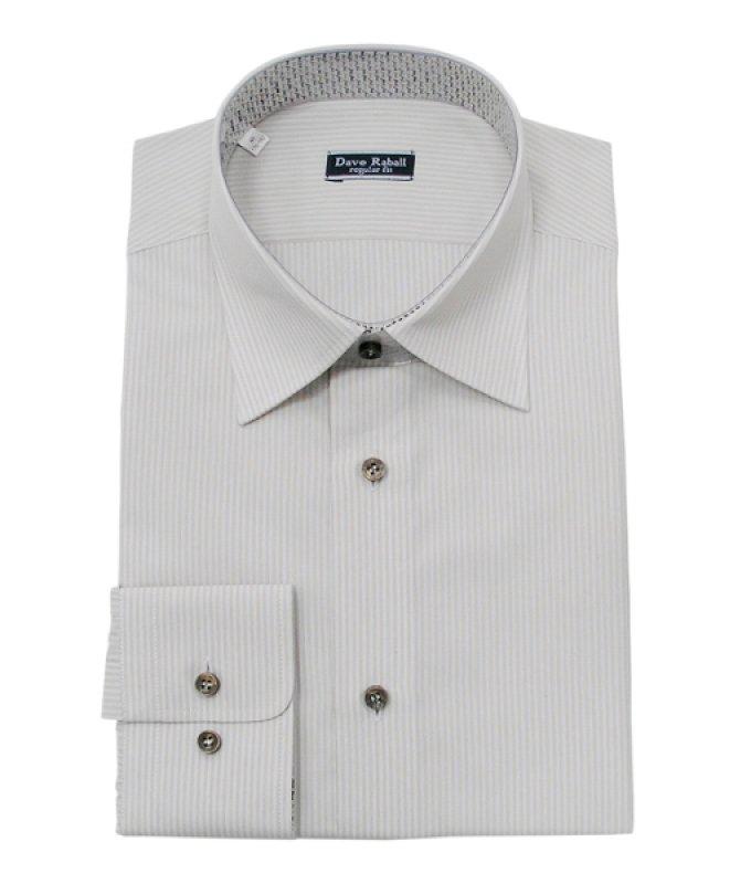 Рубашка Dave Raball серая, в полоску, полуприталенный силуэт