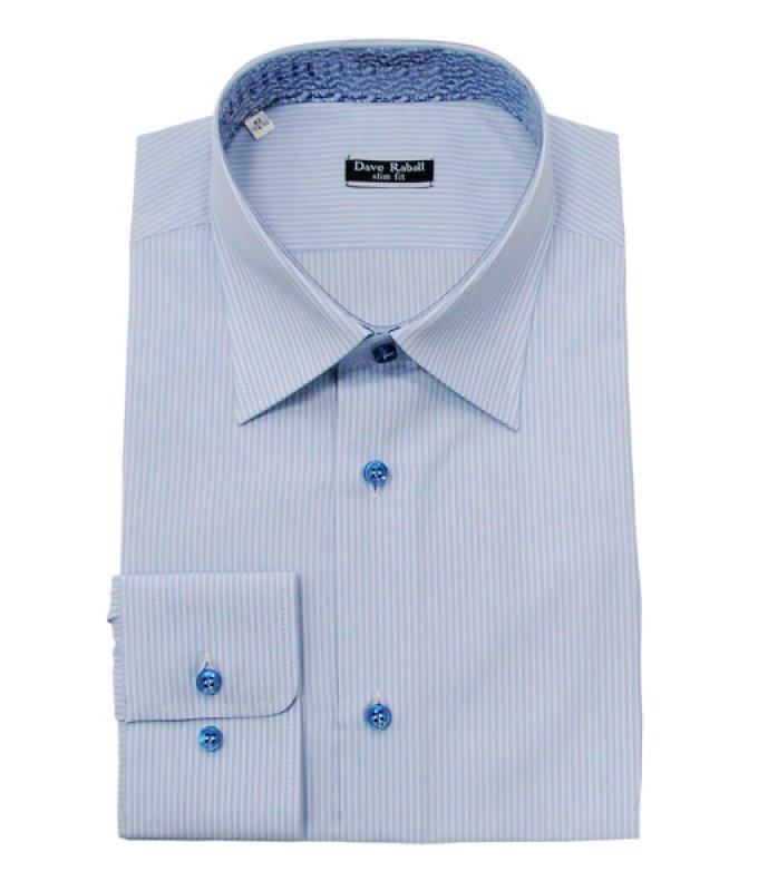 Рубашка Dave Raball голубая, в полоску, приталенный силуэт
