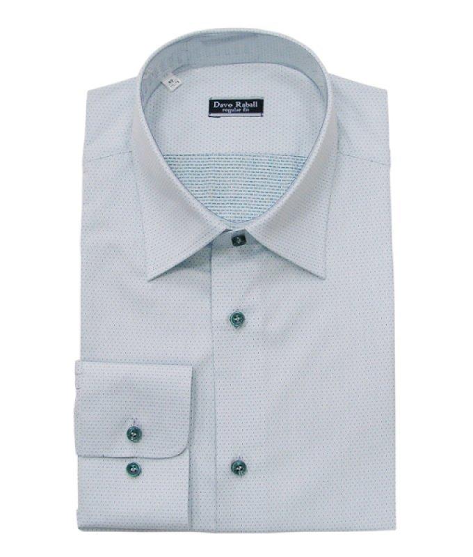 Рубашка Dave Raball зеленая, мелкий орнамент, полуприталенный силуэт