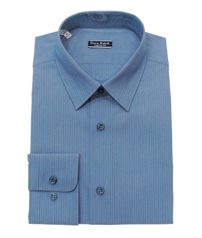 Рубашка Dave Raball синяя, в полоску, полуприталенный силуэт
