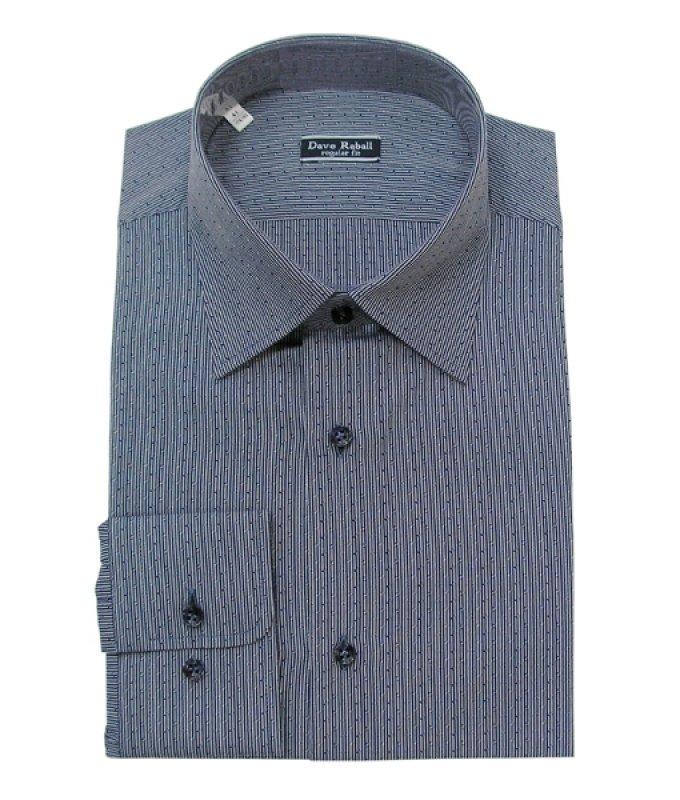 Рубашка Dave Raball синяя, мелкий орнамент, полуприталенный силуэт