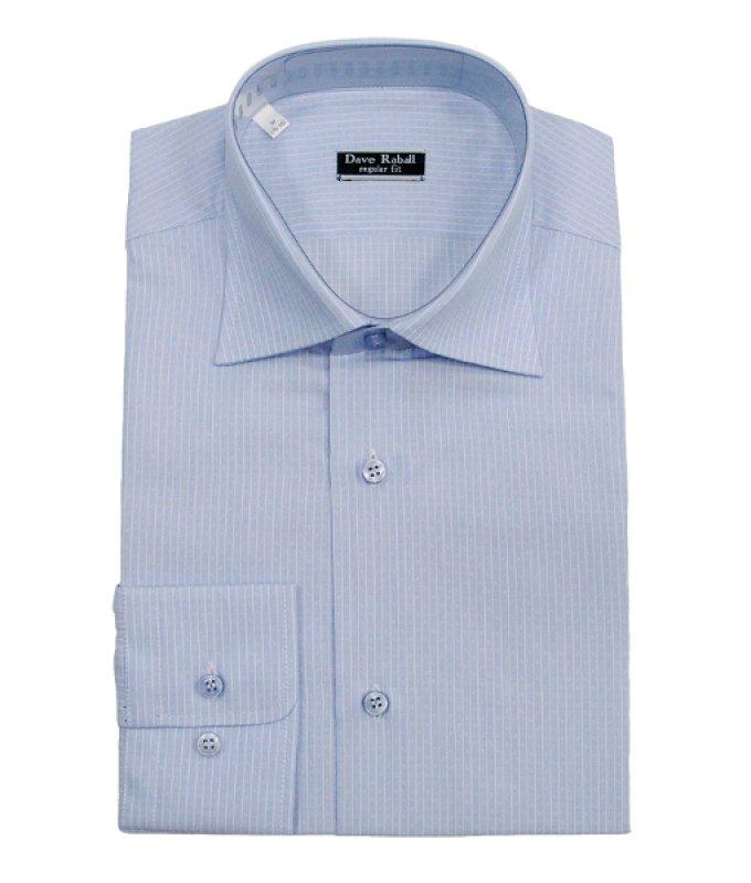Рубашка Dave Raball голубая, в полоску, полуприталенный силуэт