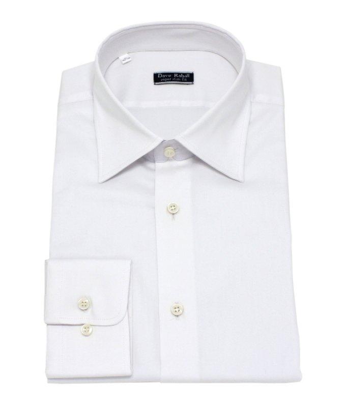 Рубашка Dave Raball белая, однотонная, очень приталенный силуэт