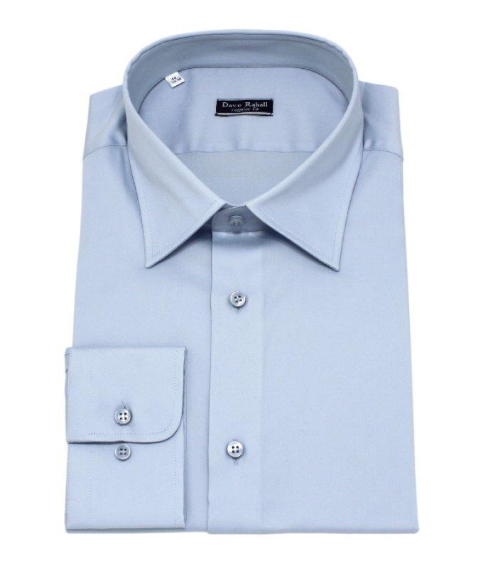 Рубашка Dave Raball голубая, однотонная, полуприталенный силуэт