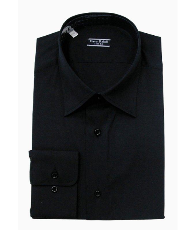 Рубашка Dave Raball черная, однотонная, приталенный силуэт