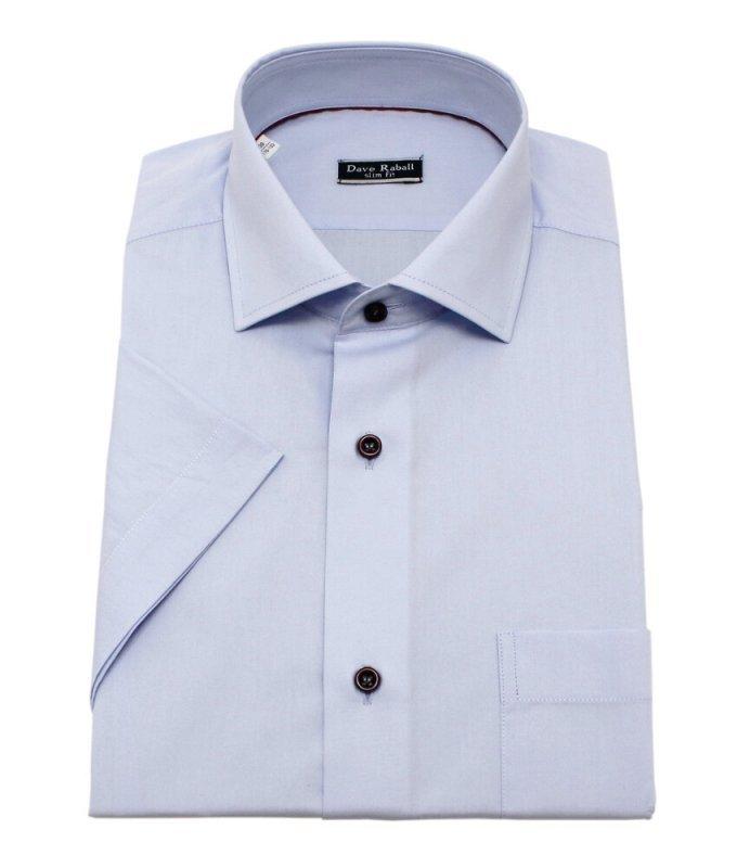 Рубашка Dave Raball голубая, однотонная, приталенный силуэт