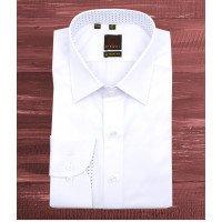 Рубашка Diboni белая, однотонная, классический силуэт, длинный рукав