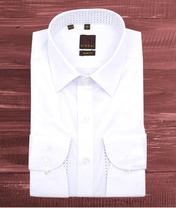 Рубашка Diboni белая, однотонная, приталенный силуэт